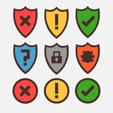 Concept of icons for antivirus programs, shields with safety and danger icons. stock illustration