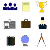 Color icons for education and business. Stock Photography