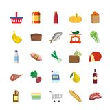 Color icons of foodstuffs Stock Photography