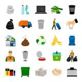 Color icons garbage collection. And recycle sign vector illustration Royalty Free Stock Image