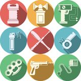Color icons for self defence Stock Image