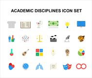 Color icons set. Academic disciplines pack. Vector illustration Royalty Free Stock Photos