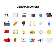 Color icons set. Cinema pack. Vector illustration Stock Images