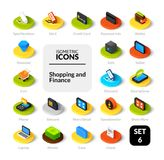 Color icons set in flat isometric illustration style, vector collection. Color icons set in flat isometric illustration style, vector symbols - Shopping and Stock Images