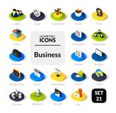 Color icons set in flat isometric illustration style, vector collection. Color icons set in flat isometric illustration style, vector symbols - Business Royalty Free Stock Images