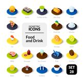 Color icons set in flat isometric illustration style, vector collection. Color icons set in flat isometric illustration style, vector symbols - Food and drink Royalty Free Stock Photo