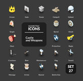 Color icons set in flat isometric illustration style, vector collection Royalty Free Stock Photo