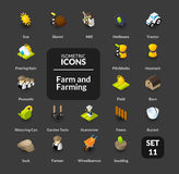 Color icons set in flat isometric illustration style, vector collection Royalty Free Stock Photos