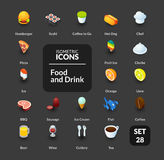 Color icons set in flat isometric illustration style, vector collection. Color icons set in flat isometric illustration style, vector symbols - Food and drink Stock Images