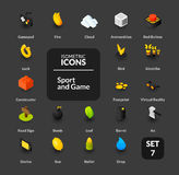 Color icons set in flat isometric illustration style, vector collection. Color icons set in flat isometric illustration style, vector symbols - Games collection Stock Photography