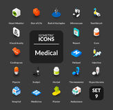 Color icons set in flat isometric illustration style, vector collection Royalty Free Stock Image