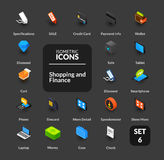 Color icons set in flat isometric illustration style, vector collection. Color icons set in flat isometric illustration style, vector symbols - Shopping and Stock Photos