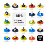 Color icons set in flat isometric illustration style, vector collection. Color icons set in flat isometric illustration style, vector symbols - Car parts and Stock Photos