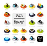 Color icons set in flat isometric illustration style, vector collection. Color icons set in flat isometric illustration style, vector symbols - Photo music and Stock Photos