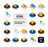 Color icons set in flat isometric illustration style, vector collection. Color icons set in flat isometric illustration style, vector symbols - Winning, Prizes Royalty Free Stock Photography