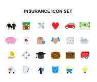 Color icons set. Insurance pack. Vector illustration Stock Photo