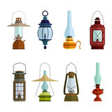 Color icons set with lantern Stock Image