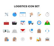 Color icons set. Logistic pack. Vector illustration Stock Photos