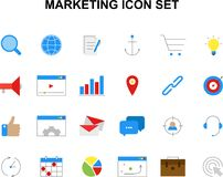 Color icons set. Marketing pack. Vector illustration. . Vector Illustration Stock Photography
