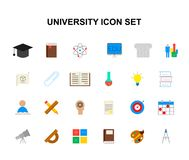 Color icons set. University pack. Vector illustration Stock Image