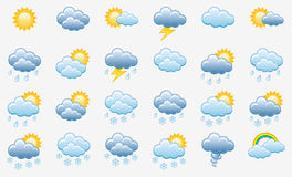 Color Icons set (Weather). Meteorology icons set; vector illustration Royalty Free Stock Photo