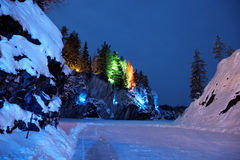 Color illumination in winter on Marble Mt Stock Images