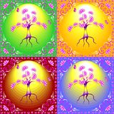 Color illustrated tree in an ornate frame. Royalty Free Stock Images