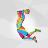 Color illustration of basketball player, vector. Abstract multicolor illustration of basketball player, vector eps Royalty Free Stock Images
