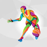 Color illustration of basketball player, vector. Abstract multicolor illustration of basketball player, vector eps Stock Photography