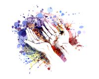 Color illustration of a begging hands Stock Photography