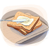 Color illustration of bread with butter on a plate. Color illustration of bread spread with cream cheese and butter on board royalty free illustration