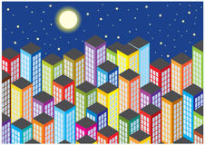 Color illustration of cartoon skyscrapers by night Stock Photos