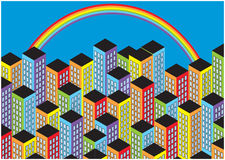 Color illustration of cartoon skyscrapers and rainbow Royalty Free Stock Image