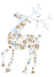 Color illustration of christmas reindeer of icons Stock Photography