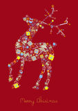 Color illustration of christmas reindeer of icons Stock Photo