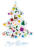 Color illustration of christmas tree of icons Royalty Free Stock Images
