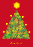 Color illustration of christmas tree with lights Stock Photo