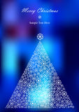 Color illustration of christmas tree silhoustte on luxury bright background. Colorful illustration with white snowflakes silhouettes christmas tree on bright Stock Photos
