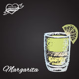Color illustration of cocktail chalk: Margarita. Stock Photography