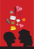 Color illustration of conversation. Color funny illustration of man and woman in conversation Royalty Free Stock Photography