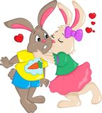 Color illustration of a couple of rabbits kissing, with hearts in the air, for children`s book, Valentine`s Day or Easter card, stock illustration