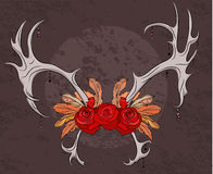 Color illustration deer antlers with roses and feathers. Royalty Free Stock Image