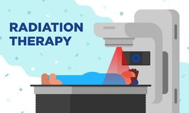 Colorful illustration of radiation therapy in a modetn. This color illustration depicts the process of treating cancer through radiation therapy in a modern vector illustration