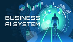 An illustration of an AI business system. This color illustration depicts a virtual business system with artificial intelligence vector illustration