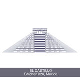Color Illustration of El Castillo. Kukulkan Pyramid in Chichen Itza, Mexico Stock Photos