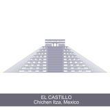 Color Illustration of El Castillo Stock Photos