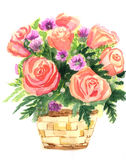 Color illustration of flowers in watercolor paintings Royalty Free Stock Images