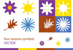 Set of four seasons symbols Royalty Free Stock Photo