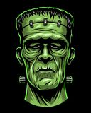 Color illustration of Frankenstein head. Isolated on black background. Halloween theme Stock Photo