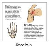 Color illustration of knee pain. Hands holding leg Stock Image